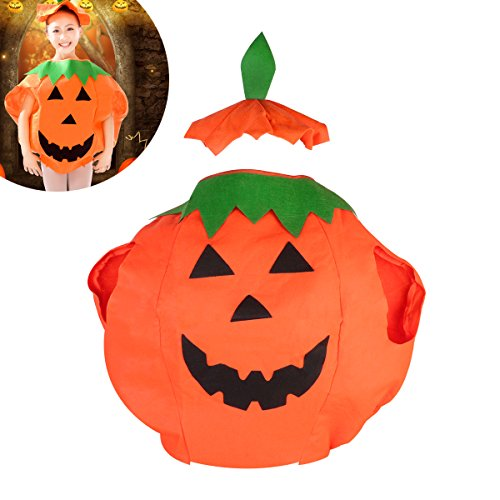 TINKSKY Funny Kids Children's Halloween Lantern Face Pumpkin Non-woven Costume Shirt Clothes with Beanie Hat (Orange) ()