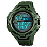XBKPLO Digital Sports Watches Mens- Waterproof Alarm Date Sport Analog Digital LED Backlight Wrist Watch (Army Green)