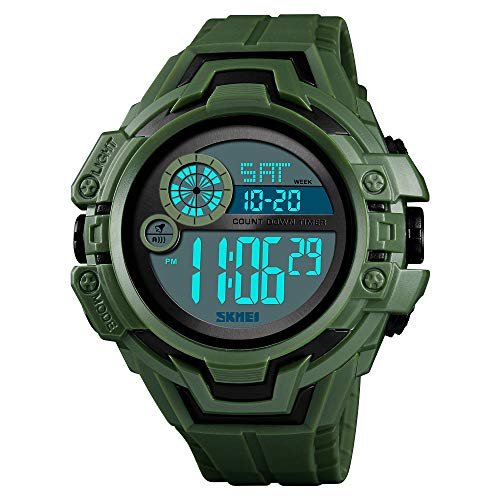 (XBKPLO Digital Sports Watches Mens- Waterproof Alarm Date Sport Analog Digital LED Backlight Wrist Watch (Army)