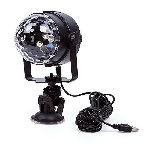 ELEOPTION Mini Stage LED Light 3W RGB Crystal Magic Ball LED Lamp 7 Colors Rotating Outdoor Car Stage DJ Disco Light USB Rechargeable Self-Propelled & Sound Activated Colorful Light by Eleoption (Image #6)'
