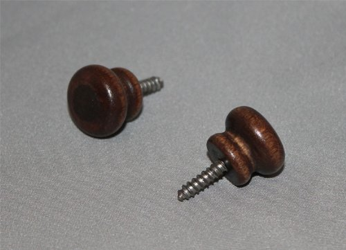 Wood Piano Desk Knobs Brown Mahogany with Screws - 1 Pair - Furniture Repair
