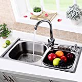 MuShang Perfect tectonic and beautifully crafted faucet modern multifunctional hot and cold water adjustable kitchen, bathroom faucet C04(high 39 cm)