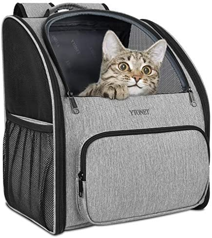 Ytonet Cat Carrier Backpack, Two-Sided Entry Dog Backpack Carriers for Small Cats Dogs Puppy, Ventilated Design Pet Backpacks Carrier with Cushion Back Support for Travel Hiking Outdoor Use, Grey