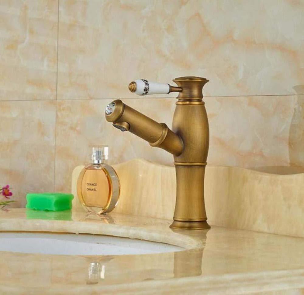 Küche Messing Warmes und kaltes Wasserhahn Waschbecken Mixerpull Out Sprayer Badezimmer Becken Wasserhahn Mischbatterie Zeremonischer Griff Deck Montiert Antique Brass