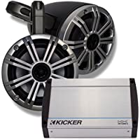 Kicker Marine Black Wake Tower System w/ Silver 6.5 Speakers, Kicker 40KXM400.4 400 Watt Amplifier