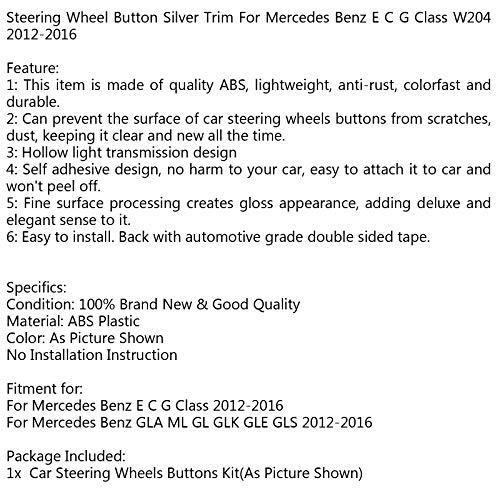 Artudatech Steering Wheel Button Silver Trim For Mercedes Benz E C G Class W204 2012-2016