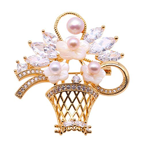 (Creative Brooch Pin Korean Version Of Purple Oblate Freshwater Pearl Basket Brooch Female Gold Holder Badge Pin Lapel Pin (Color : Photocolor, Size : One size))