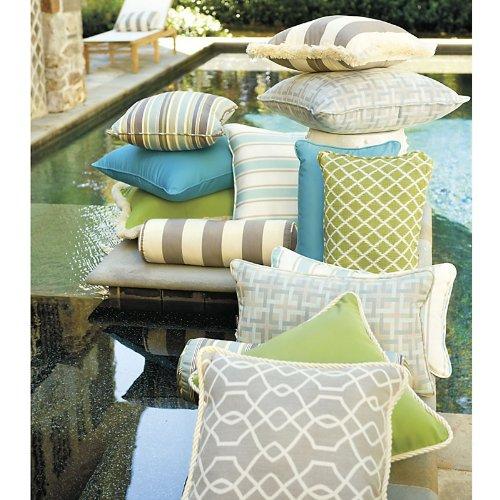 Outdoor Piped Throw Pillow   16 Inch Square   Capri Spa Sunbrella   Ballard Designs