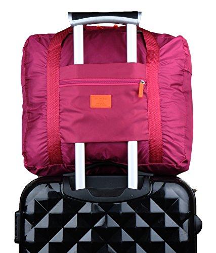 Foldable Travel Tote Bag,Zipper High Capacity Duffle Bag Carry Storage Luggage Bag Wine Red B