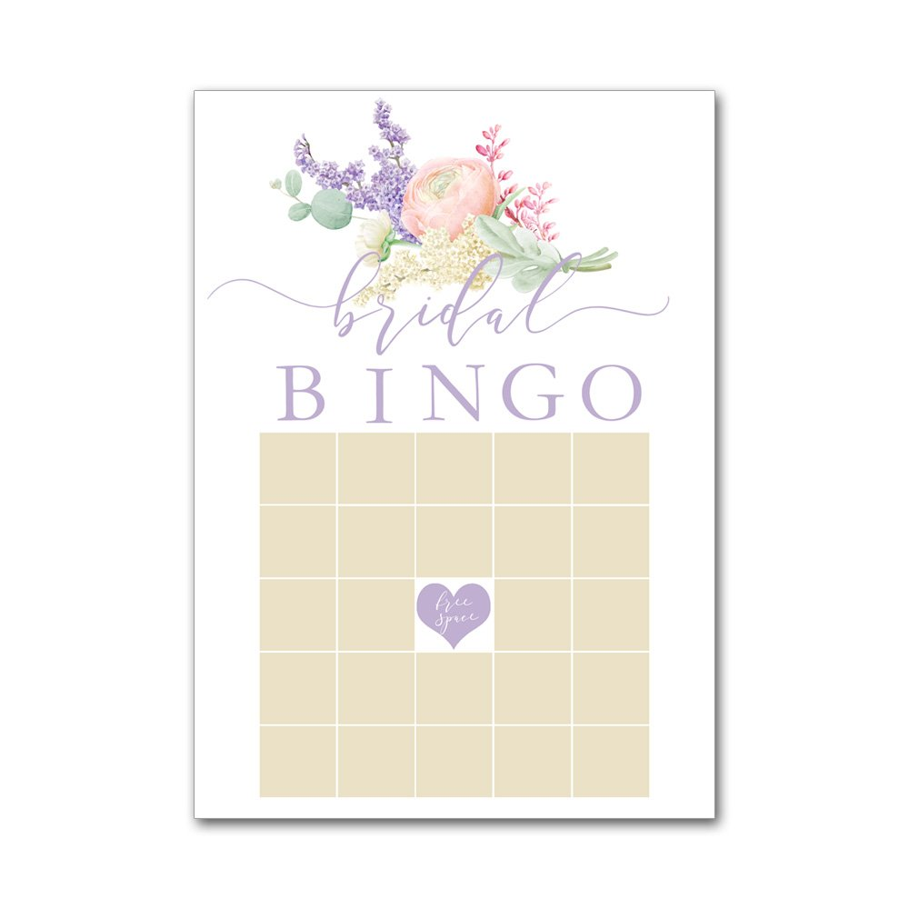 Bingo Game Cards for Bridal Wedding Showers with Watercolor Lilacs Flowers in Purple BBG8028