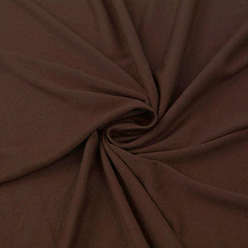 Brown Poly Rayon Spandex Stretch Jersey Knit Fabric By the Yard - 1 - Knit Brown Fabric