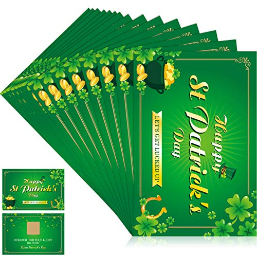 St. Patrick's Day Fortune Cards, Year of The Lucky Shamrock Party Scratch Off Fortune Games, Laminated Fortune Teller Cards (Style 1, 24 - Patricks Invitations Day