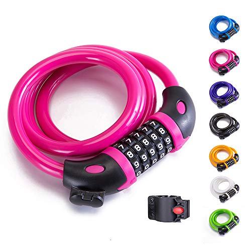 4a396857b00 XZSUN Bike Lock Bicycle Lock Chain ,5-Digit Combination Lock Core Steel  Wire Bike Lock Security&Portable Bicycle Locks,4 Feet x 1/2 inch (Pink)