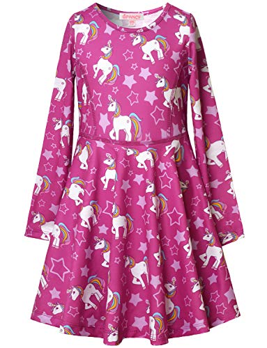 Winter Themed Dress (Long Sleeve Unicorn Dresses for Little Girls Cotton Fall Clothes)