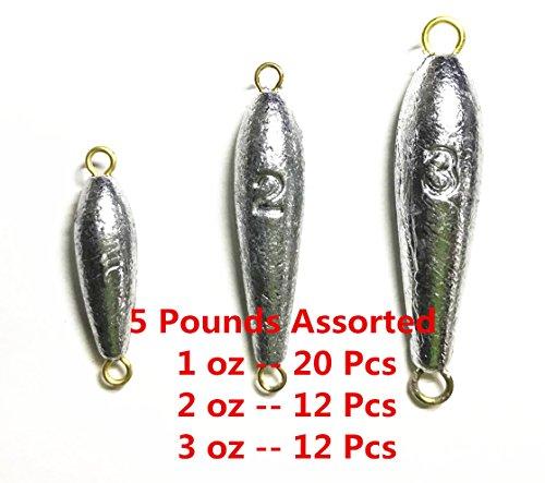 Kathy store INC Torpedo Sinkers Fishing Sinkers - assorted weights (5 LB) (5 LB - 1oz \ 2oz \ 3oz) + Free small scissors