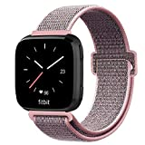 Fintie Bands Compatible with Fitbit Versa & Versa Lite & Versa Special Edition, Soft Nylon Sport Band Replacement Wristbands with Fastener Adjustable Closure (Z-Pink Sand)
