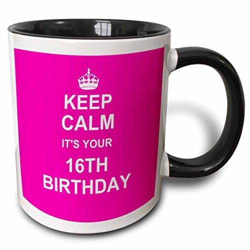 3dRose 157649_4 hot pink girly girls fun stay calm about turning sweet sixteen Mug, 11 oz, Black]()