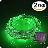 FUNJIA (2 Pack) Solar Powered String Light, 33Ft 100 LEDs Starry Copper Wire Lights, Waterproof Ambiance Lighting for Indoor/Outdoor, Gardens, Homes, Various Party, Wedding, Landscape, (Green)