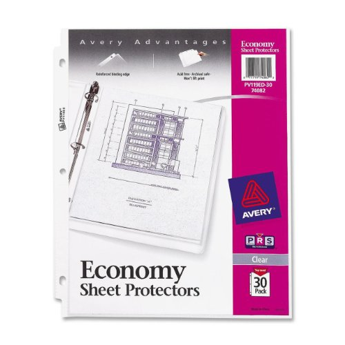 Avery Economy Sheet Protectors, Acid Free, Pack of 30 (74082)