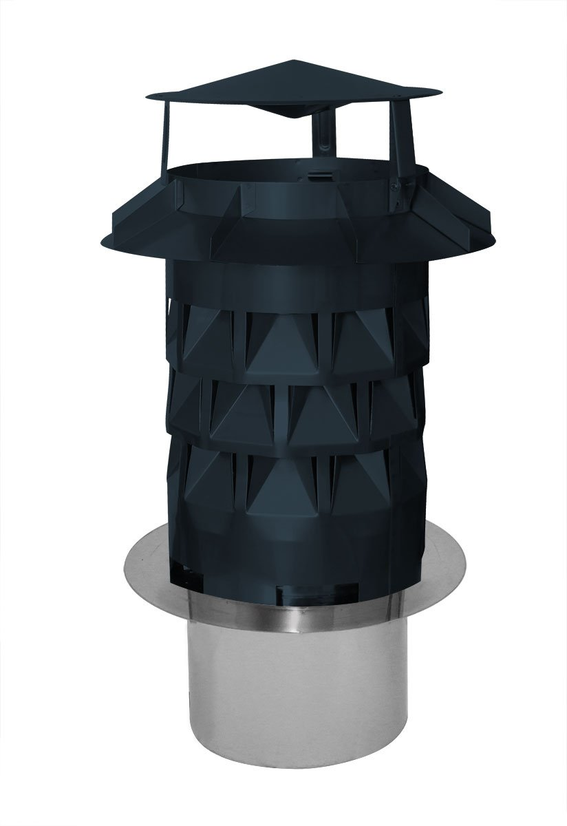 Chimney Ekon Plus Chimney Pot Rain Hat Charcoal with Slot in Stainless Steel and Silicone Free