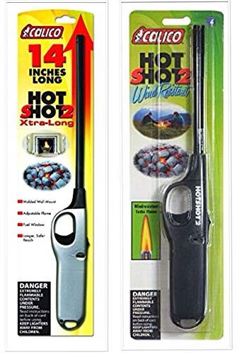 calico 2 Pack Combo Hot Shot 2 Xtra Long and Standard Wind Resistant Lighter Safe for Camping/Grilling/Home, Adjustable Flame