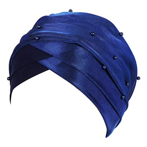 (Sunday88 Women Muslim Hat Two-Color Studded Beaded Bright Silk Cloth Baotou Cap Moisture Wicking Fabric, UV Sun Protection)