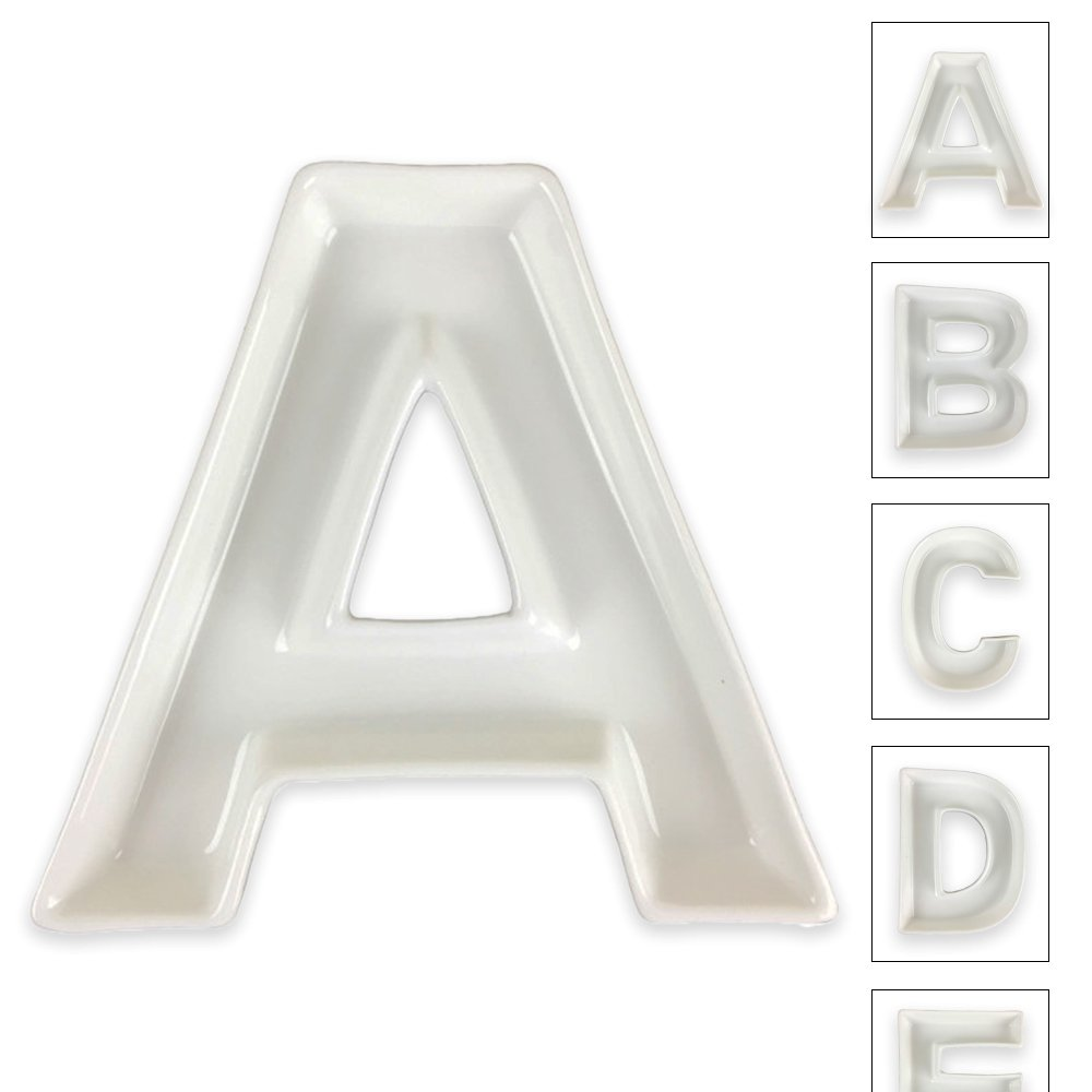 Just Artifacts - 5.5inch White Ceramic Letter Dish - Letter: A - Decorative Dishes for Weddings, Anniversarys, Baby Showers, Birthday Parties and Life Celebrations! JustArtifacts.Net