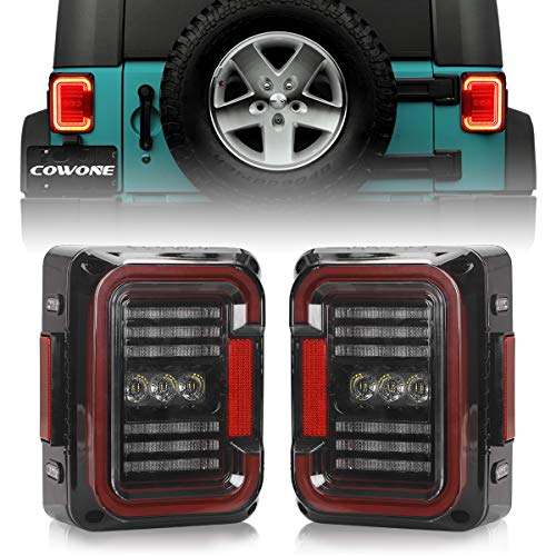 Smoked Lens LED Tail Lights [Stereoscopic Design] Compatible with Jeep Wrangler JK JKU 2007-2018 [20W Reverse Lights] Brake Reverse Light Rear Back Up Lights Daytime Running Lamps [DOT Approved]…