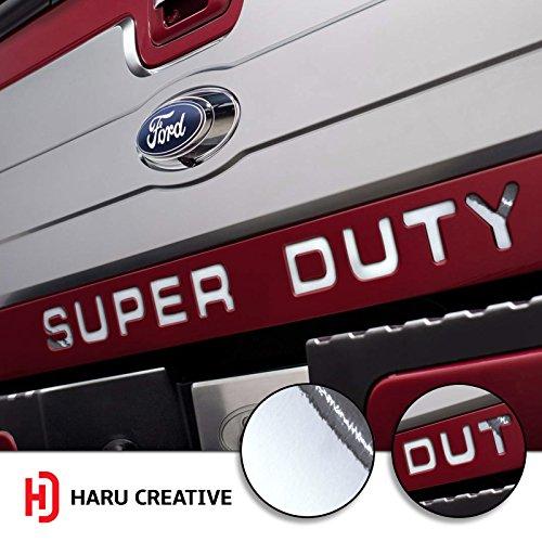Haru Creative - Ford Super Duty F250 F350 F450 (2008-2016) Tailgate Letter Insert Overlay Vinyl Decal - Chrome Silver