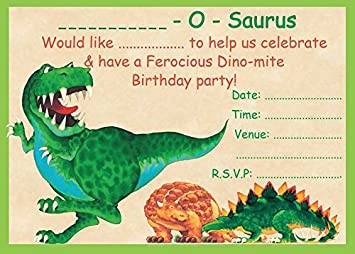 DINOSAUR CHILDRENS BIRTHDAY PARTY INVITES INVITATIONS X 10 PACK