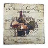 Winery Kitchen Decor French Wine Label Sign Chardonnay with Purple Grapes 15.5 Square