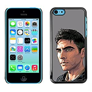 GOODTHINGS Funda Imagen Diseño Carcasa Tapa Trasera Negro Cover Skin Case para Apple Iphone 5C - Arte de la pintura del hombre tipo guapo