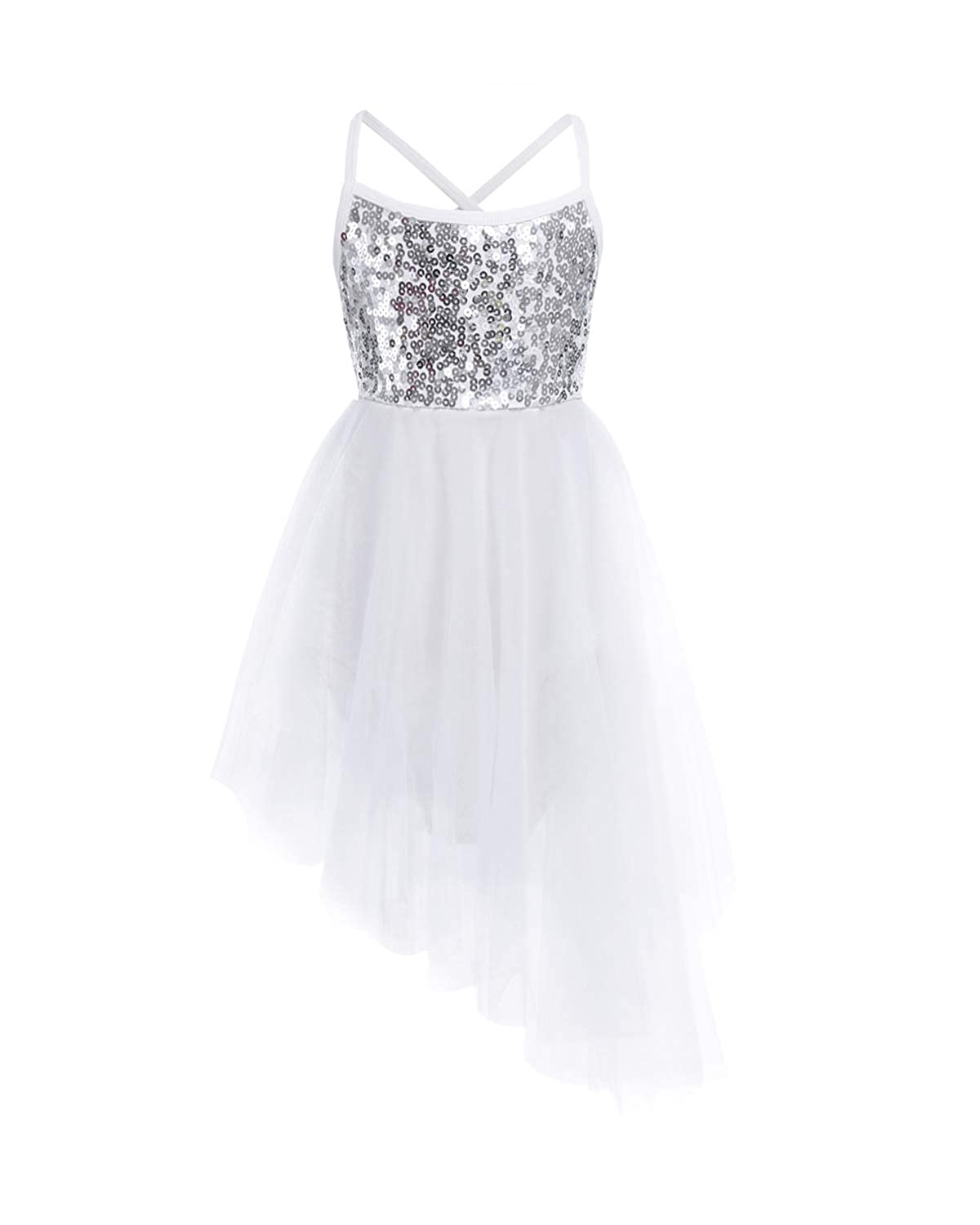 80dffe8d316d Child girl's shiny ballet dancer leotard dancewear costume. Top sequined  bodice, spaghetti straps crossed at back. Mesh skirt with ruffled trimmings  and ...
