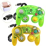 Poulep 2 Packs Classic Wired Gamepad Controllers for Wii Game Cube Gamecube Console (Clear Yellow and Moss Green)