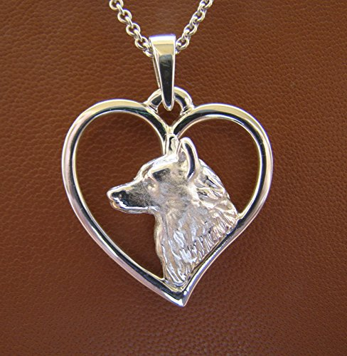 - Sterling Silver Siberian Husky Head Study On A Heart Frame Pendant