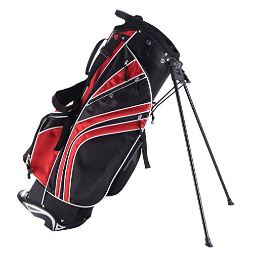 (Tangkula Golf Stand Bag w/6 Way Divider Carry Organizer Pockets Storage (Red))