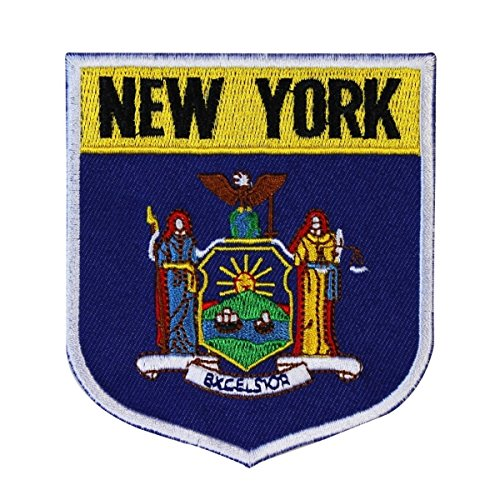 State Flag Shield New York Patch Badge Travel USA Embroidere