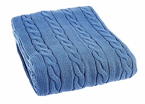 KYB Luxury Cotton Cable Knit Throw Blanket, Saks Blue