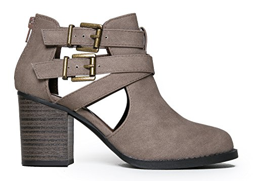 Cut Out Buckle Ankle Bootie - Low Stacked Heel Boot - Western Round Toe Wood Heel - Vegan Leather Trendy Closed Toe Comfort Walking Shoe 7.5 by Soda (Image #2)