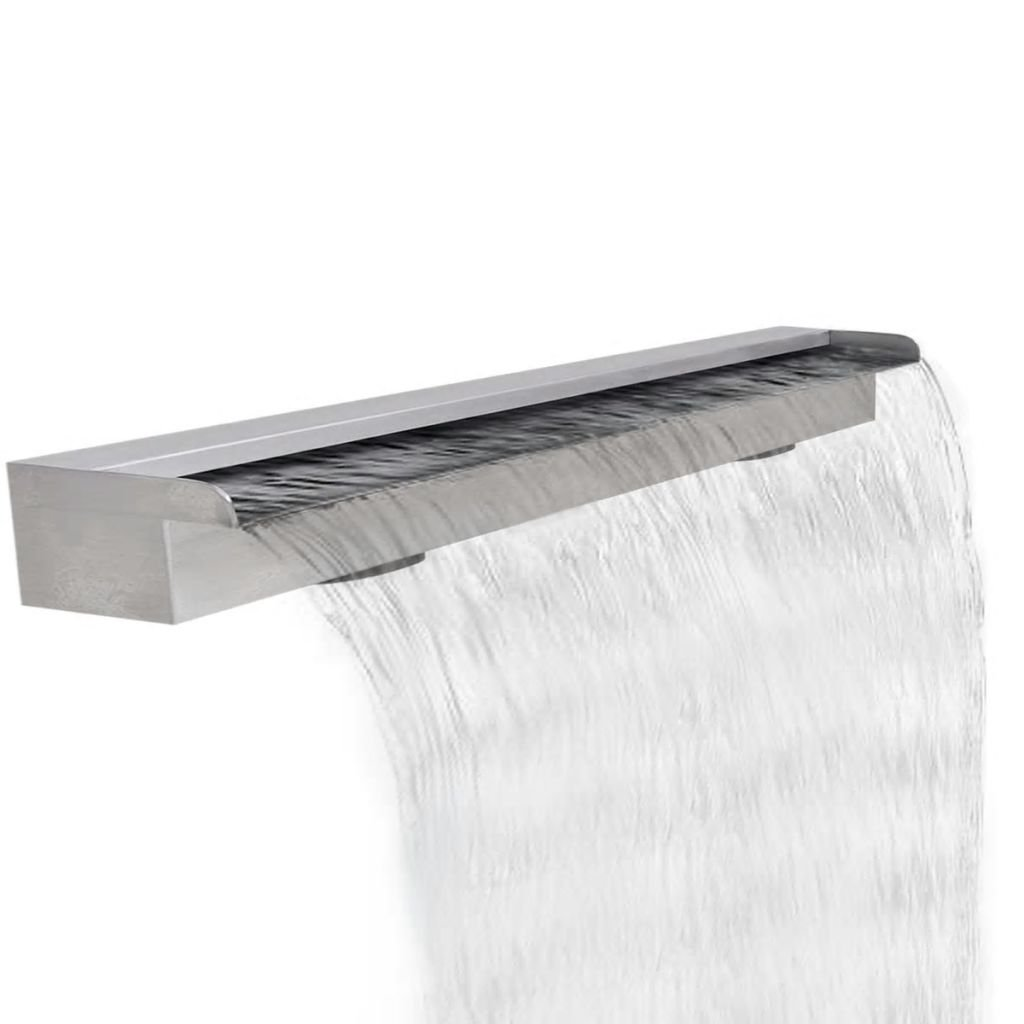 mewmewcat Upgraded Rectangular Waterfall Pool Fountain Stainless Steel 47.2'' x 4.5'' x 3.1''