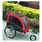 PawHut 2-in-1 Pet Jogging Stroller Dog Cat Bike Bicycle Trailer Carrier w/Drawbar Hitch Brake Black/Red