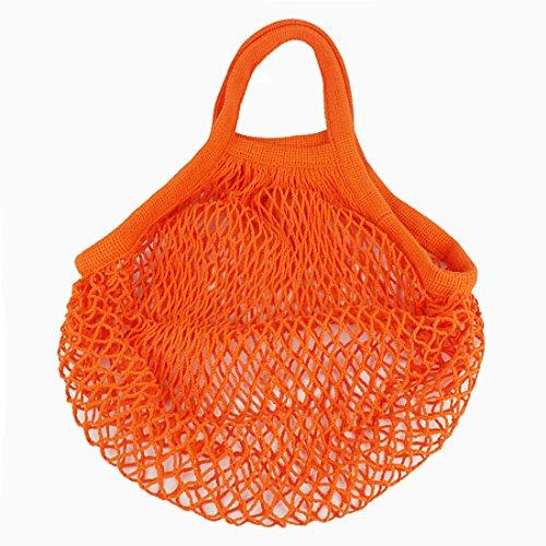 Andux Cotton Net Einkaufstasche Wiederverwendbare Tasche SGD-01 (Klein, Grau) Orange
