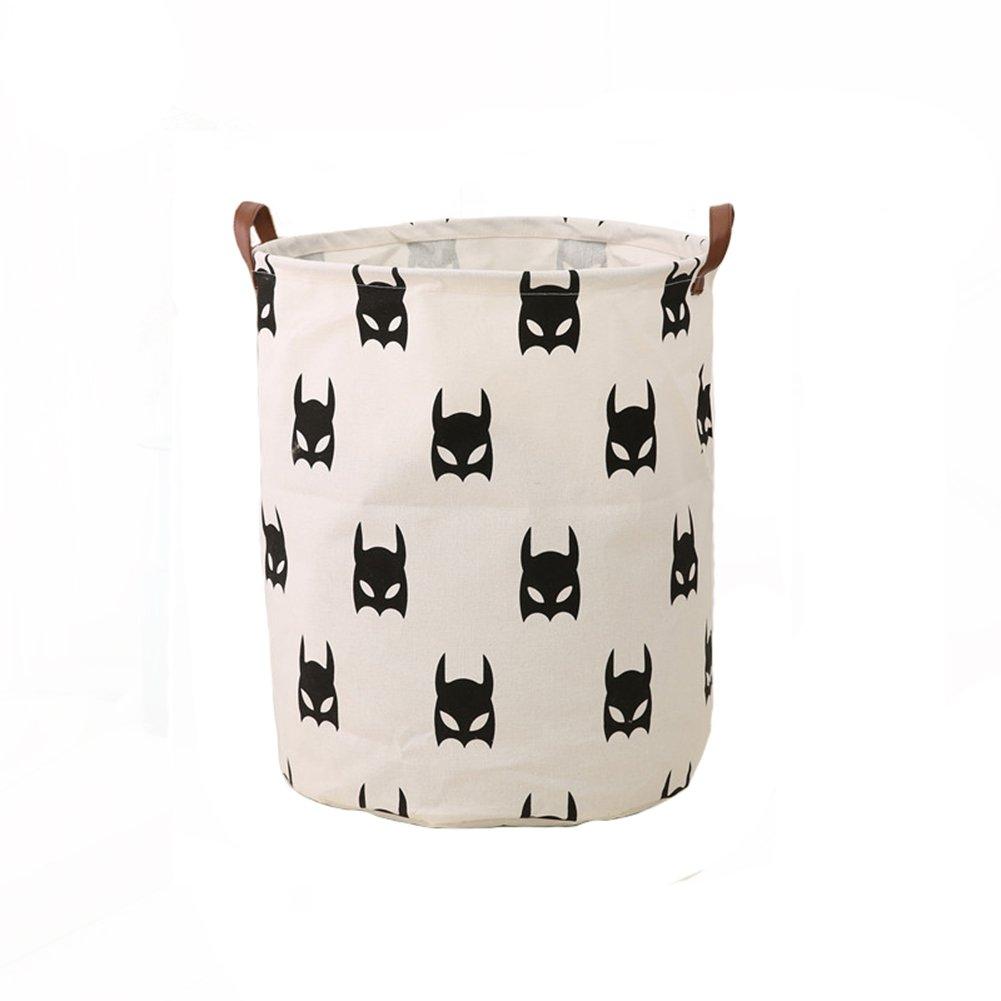 Super iMan Black&White Theme Cotton Storage Basket with Handles,Laundry Basket,Toys Organizer Basket (Batman, Round)