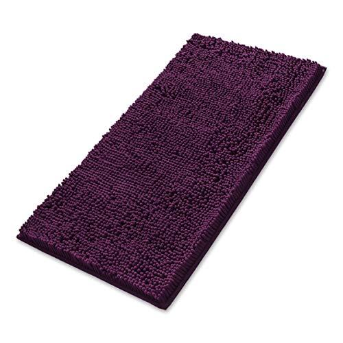 MAYSHINE 24x39 inch Non-Slip Bathroom Rug Shag Shower Mat Machine-Washable Bath mats with Water Absorbent Soft Microfibers of - Plum