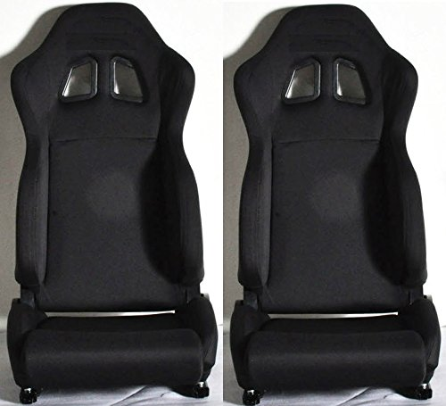 1 PAIR R Type Cloth Sport Reclinable Racing Seats With Sliders (All Black)