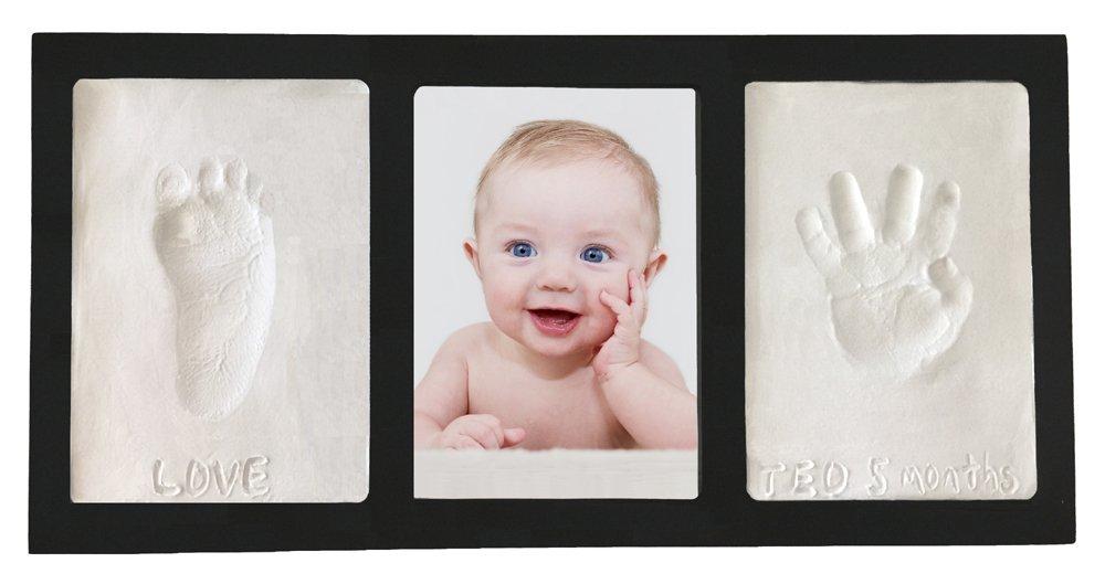 Clay Handprint & Footprint Keepsake Photo Wall Frame - Black Casting Keepsakes