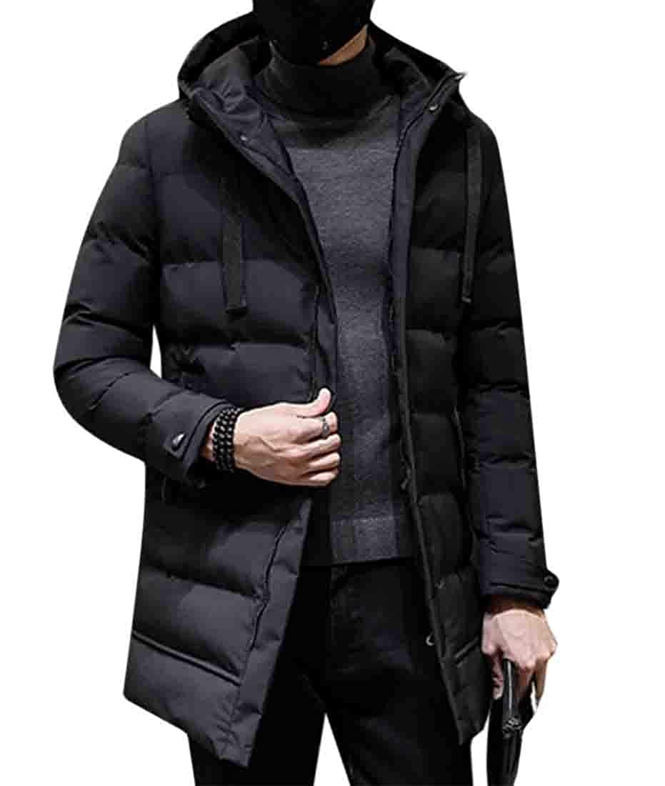 XQS Mens Down Coat Slim Fit Casual Warm Jackets Hooded Winter Thick Coat Parka Overcoat Hoodie