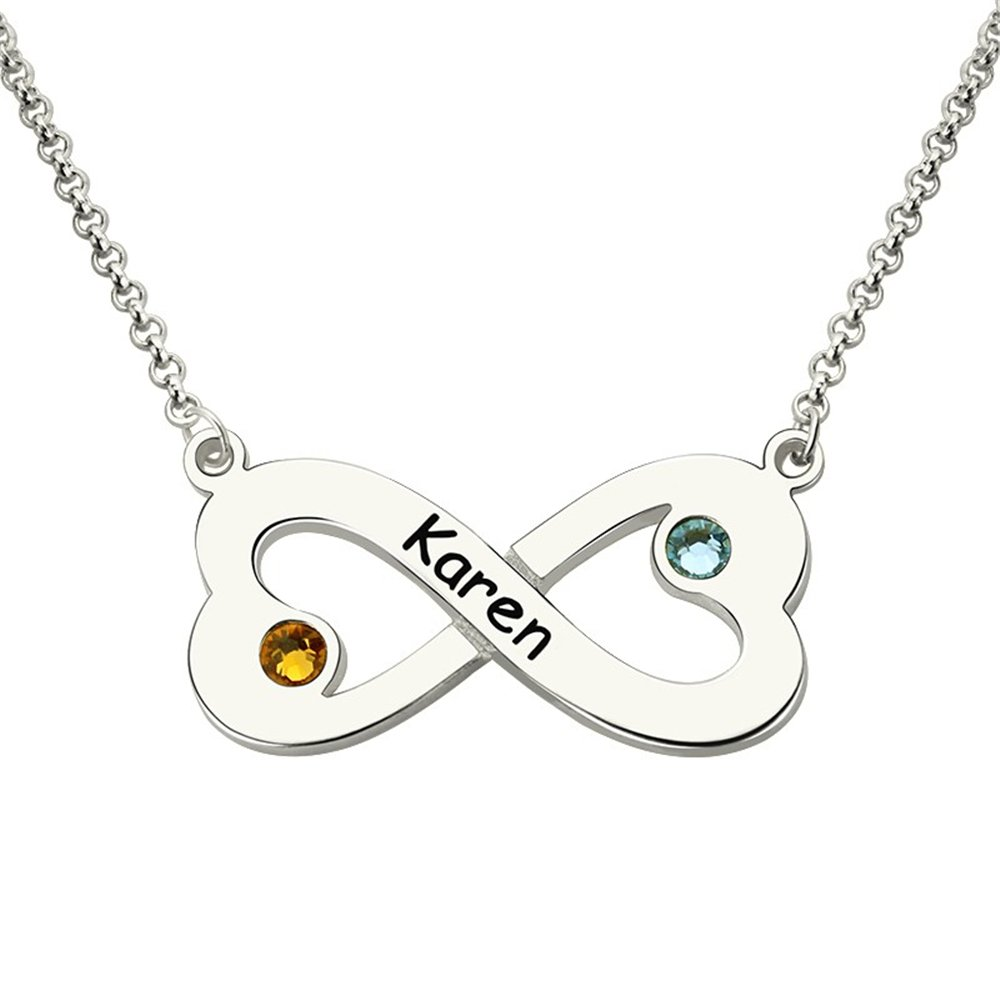 Custom Made Gift Infinity Heart Necklace with Birthstone Heart-Shaped Infinity Name Necklace Love Birthstone Necklace