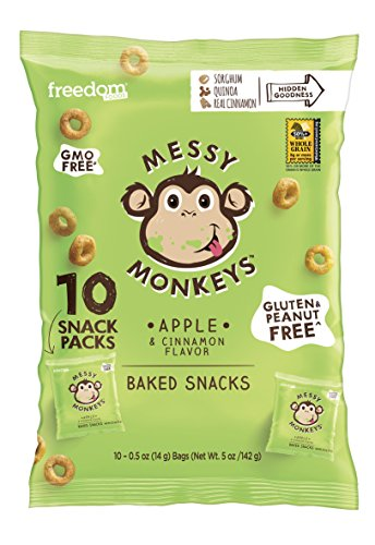 Messy Monkeys Apple & Cinnamon Flavored Whole Grain Bites - 10 Individual 0.5oz Single Serving Bags