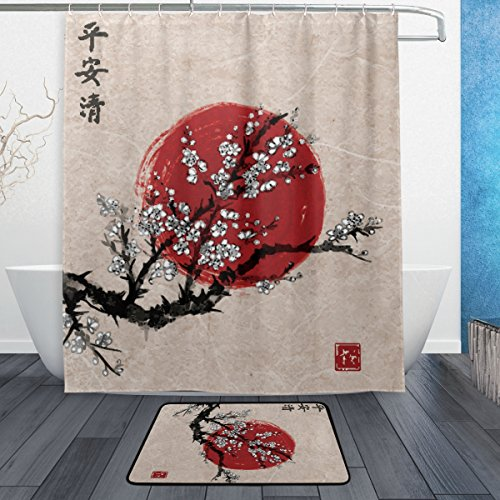ALAZA Set of 2 Asian China 60 X 72 Inches Shower Curtain and Mat Set, Floral Flower Plum Blossom Waterproof Fabric Bathroom Curtain and Rug Set with Hooks